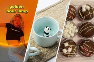 golden hour lamp, panda mug, hot chocolate bombs