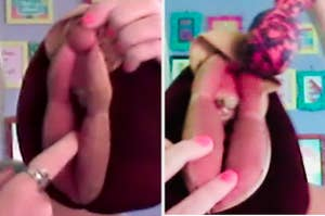 left image is finger in plush vulva and right is vibrator on plush vulva
