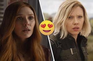 "Elizabeth Olsen as Wanda Maximoff and Scarlett Johansson as Natasha Romanoff in the movie ""Avengers: Infinity War."""