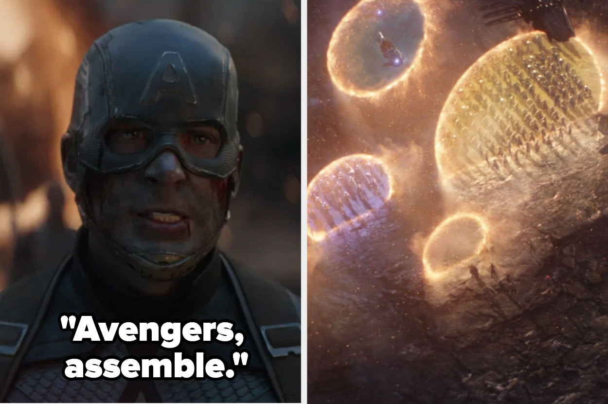 """Captain America saying """"Avengers, assemble"""" at the end of Endgame and all of the portals"""
