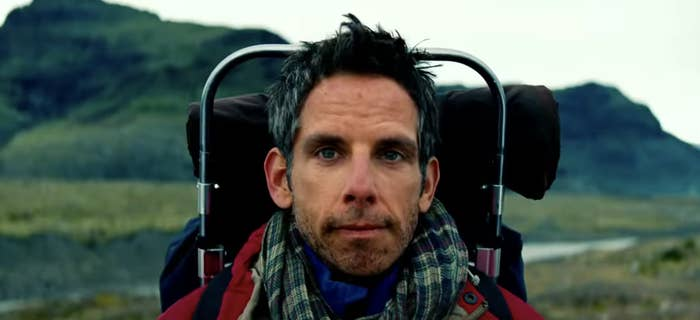 "Ben Stiller wearing camping gear and backpacking through mountains in ""The Secret Life of Walter Mitty"""