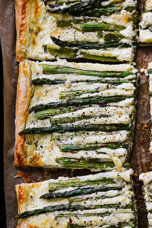 Asparagus and goat cheese tart with chives.