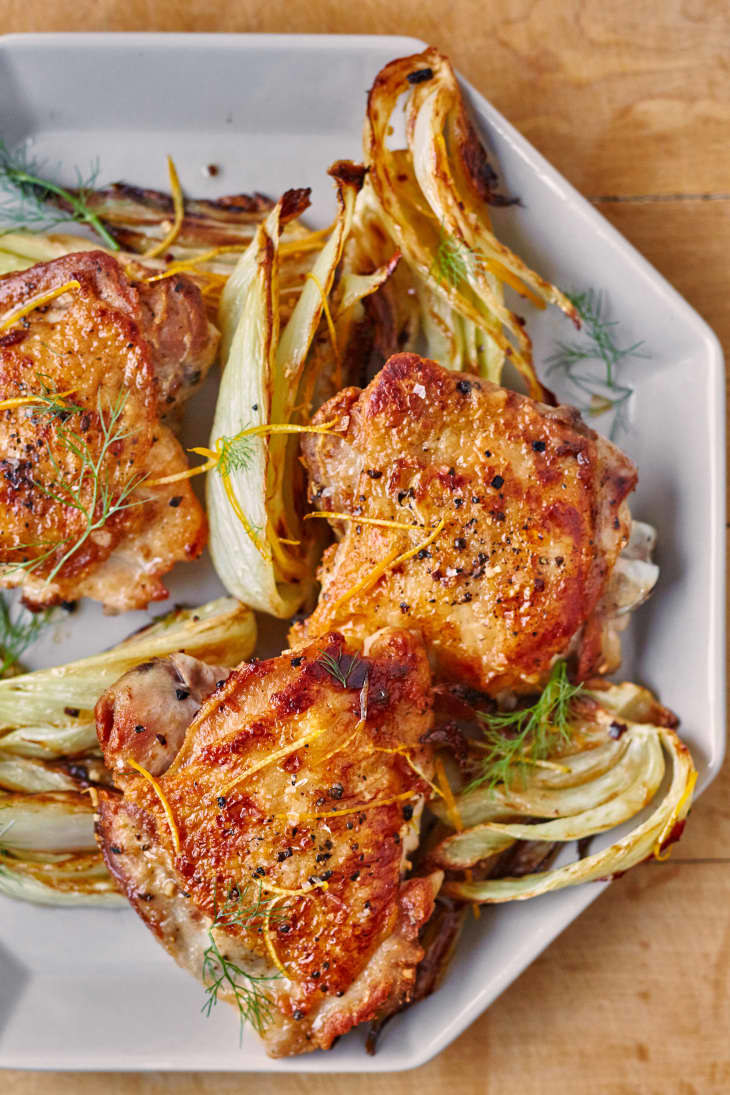 Chicken thighs with fennel.