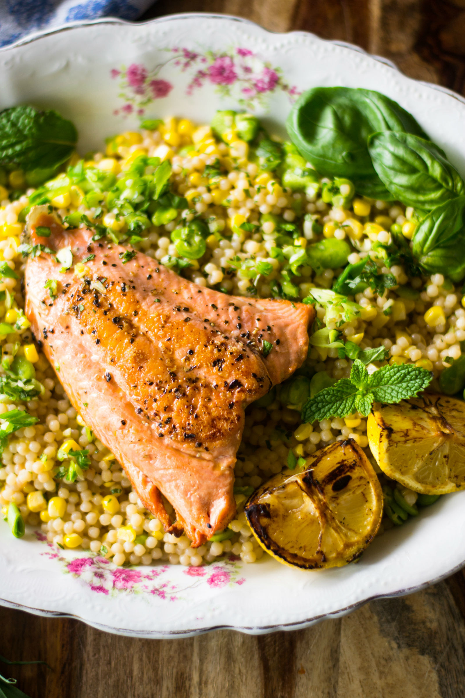 Israeli couscous with salmon and fava beans.