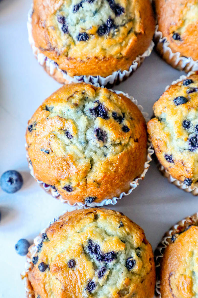 Several blueberry muffins.