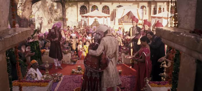 "A wedding ceremony in India in ""The Second Best Exotic Marigold Hotel"""