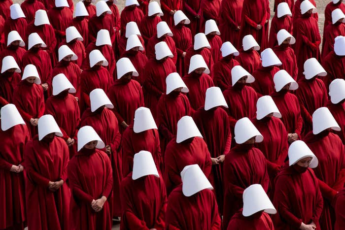 Photo of all the Handmaids lined up