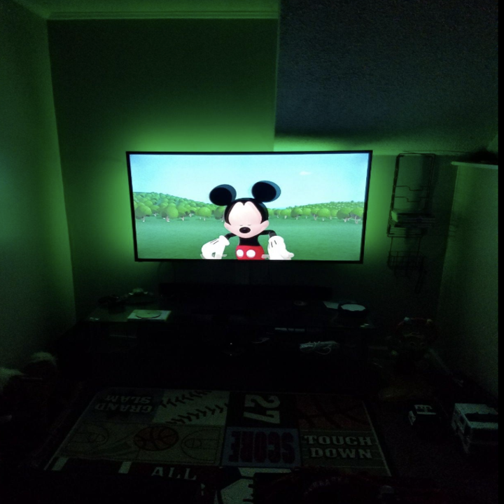 Same television with green backlight