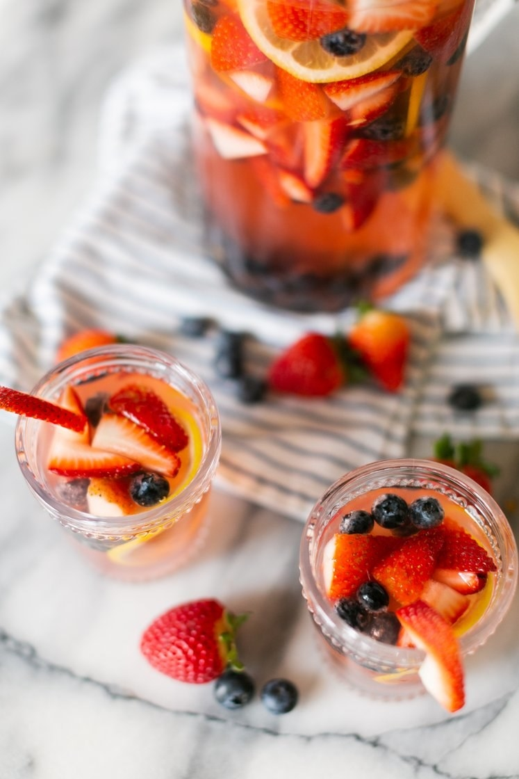 Spring sangria with berries.