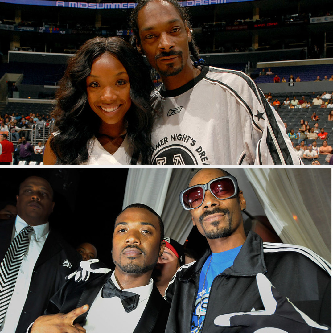 Brandy and Snoop Dogg posing at a basketball game; Ray J and Snoop Dogg posing at an entertainment event in 2011