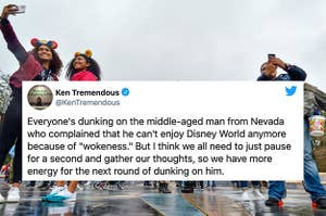 A tweet from Michael Schur joking about dunking on the guy who wrote the Disney op-ed