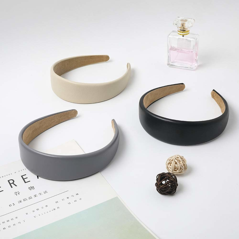 The three headbands laid out on a table