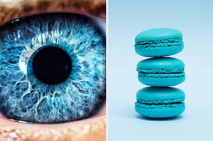 An eye with a blue iris and a stack of blue macarons