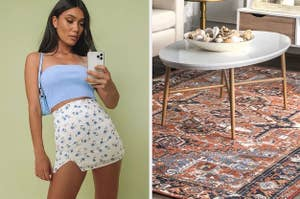 on left, model wears baby blue tube top. on right, patterned rug below white marble table