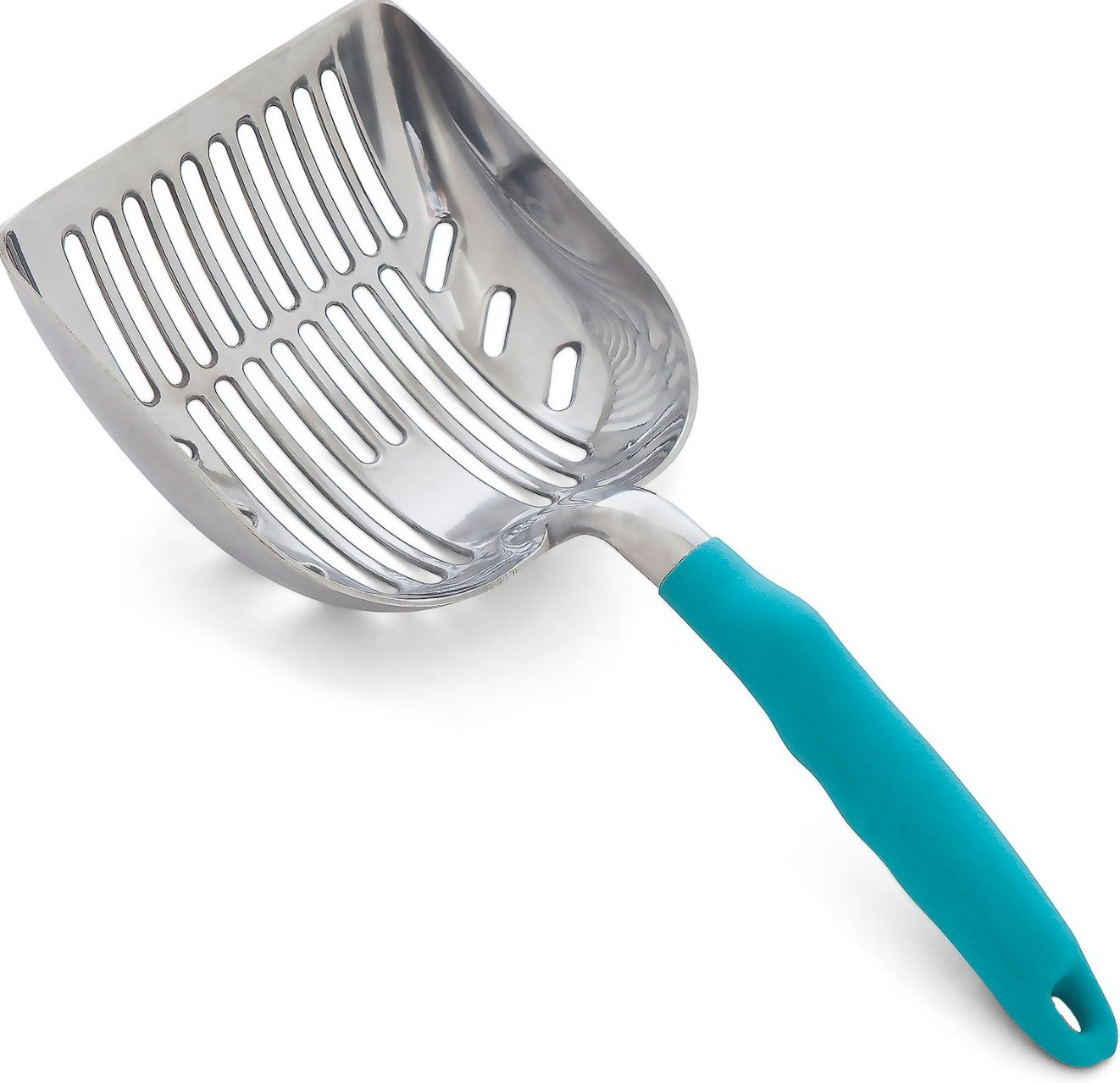 The cat litter scooper in silver with a blue handle