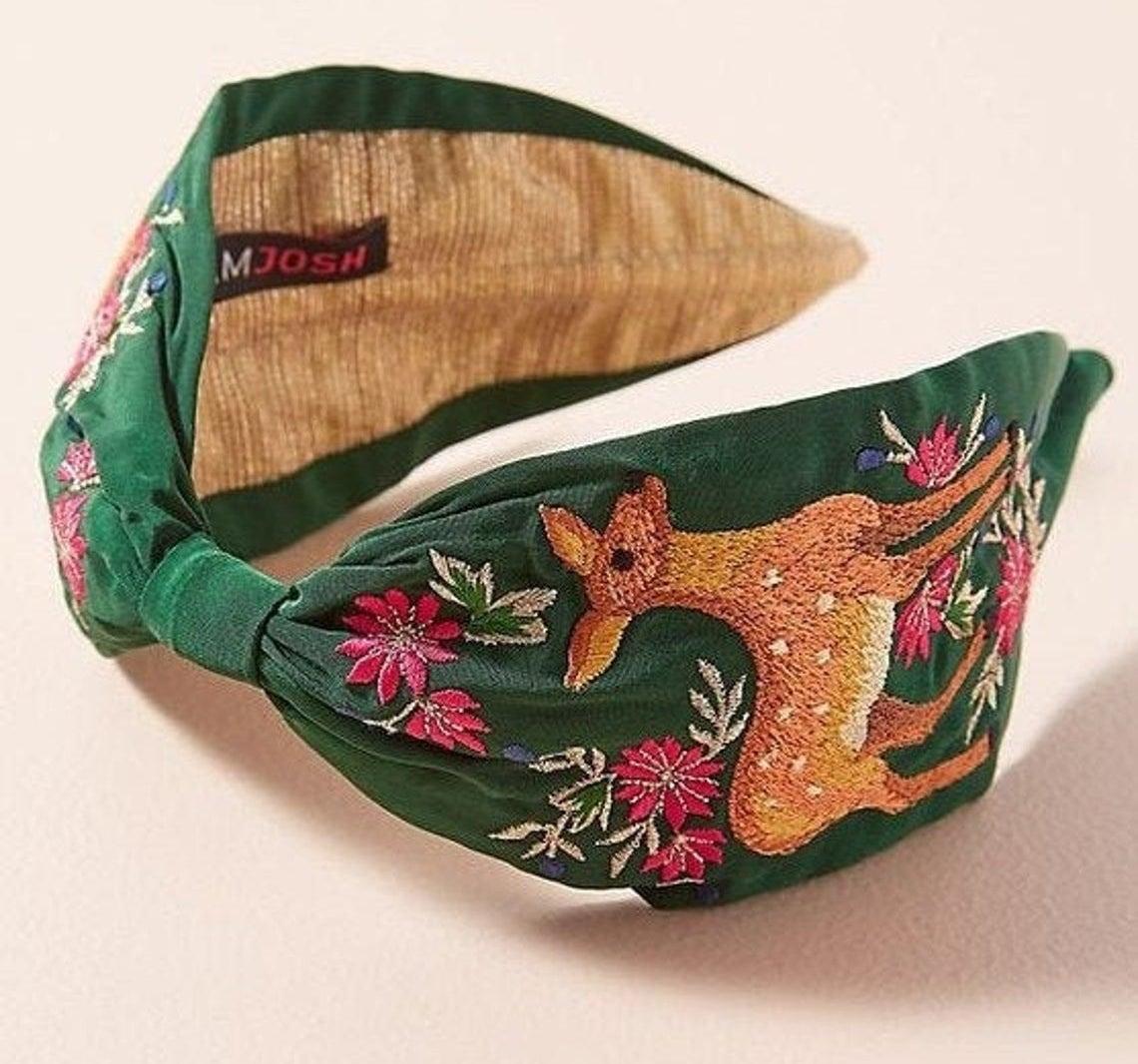 The deer embroidered headband