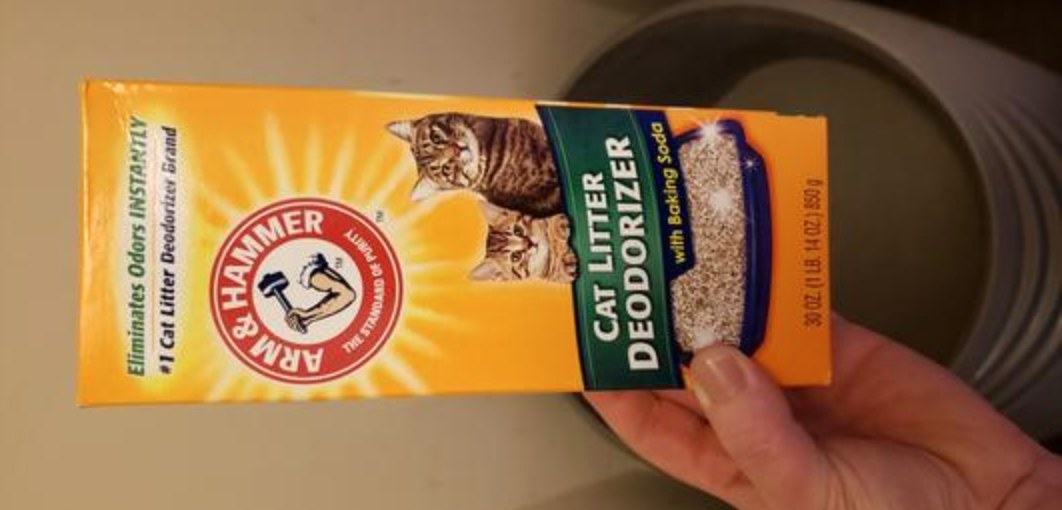 The reviewer's photo of the box of arm and hammer cat litter deodorizer in its packaging