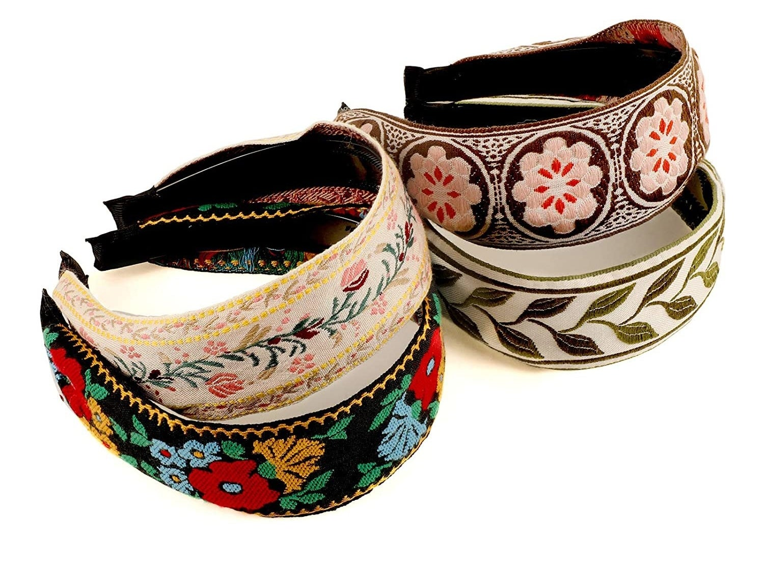The set of four headbands stacked on one another