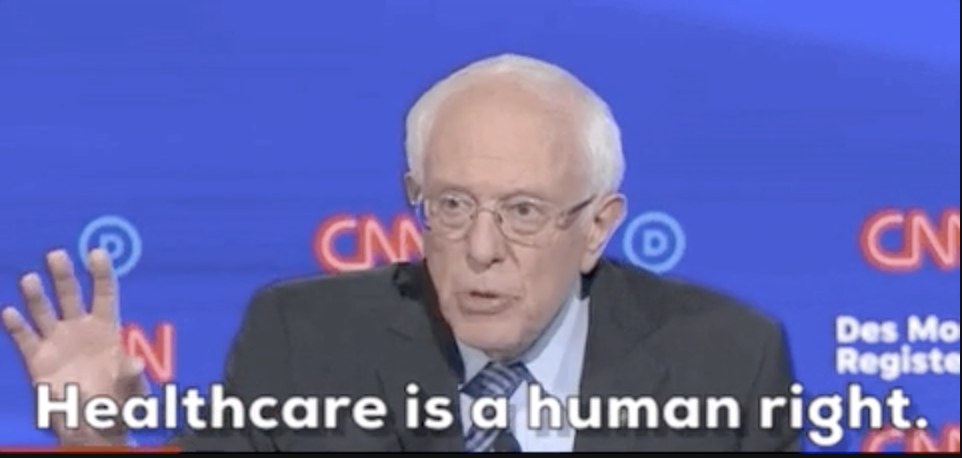 """Bernie Sanders saying """"healthcare is a human right"""""""
