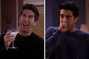 """Ross from """"Friends"""" making a scrunchy face while holding a margarita; Ross holding his fist to his mouth in disbelief"""