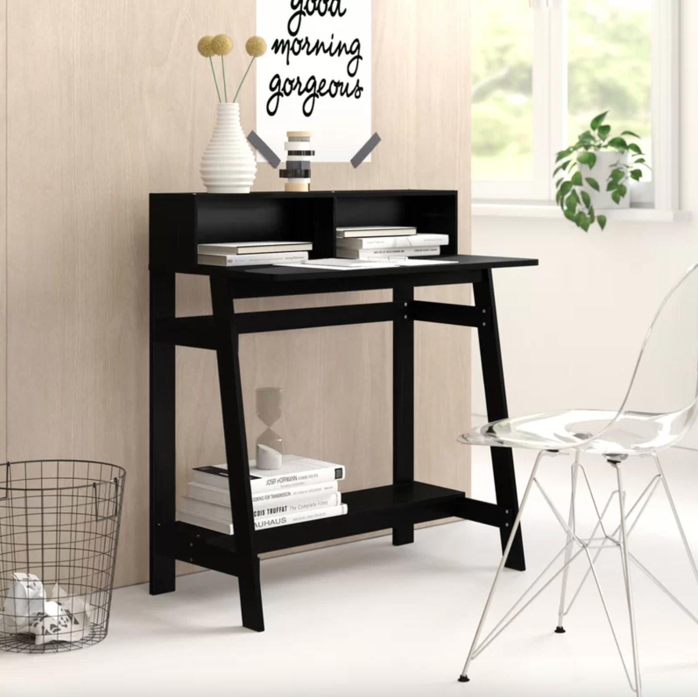 The desk with a hutch in espresso