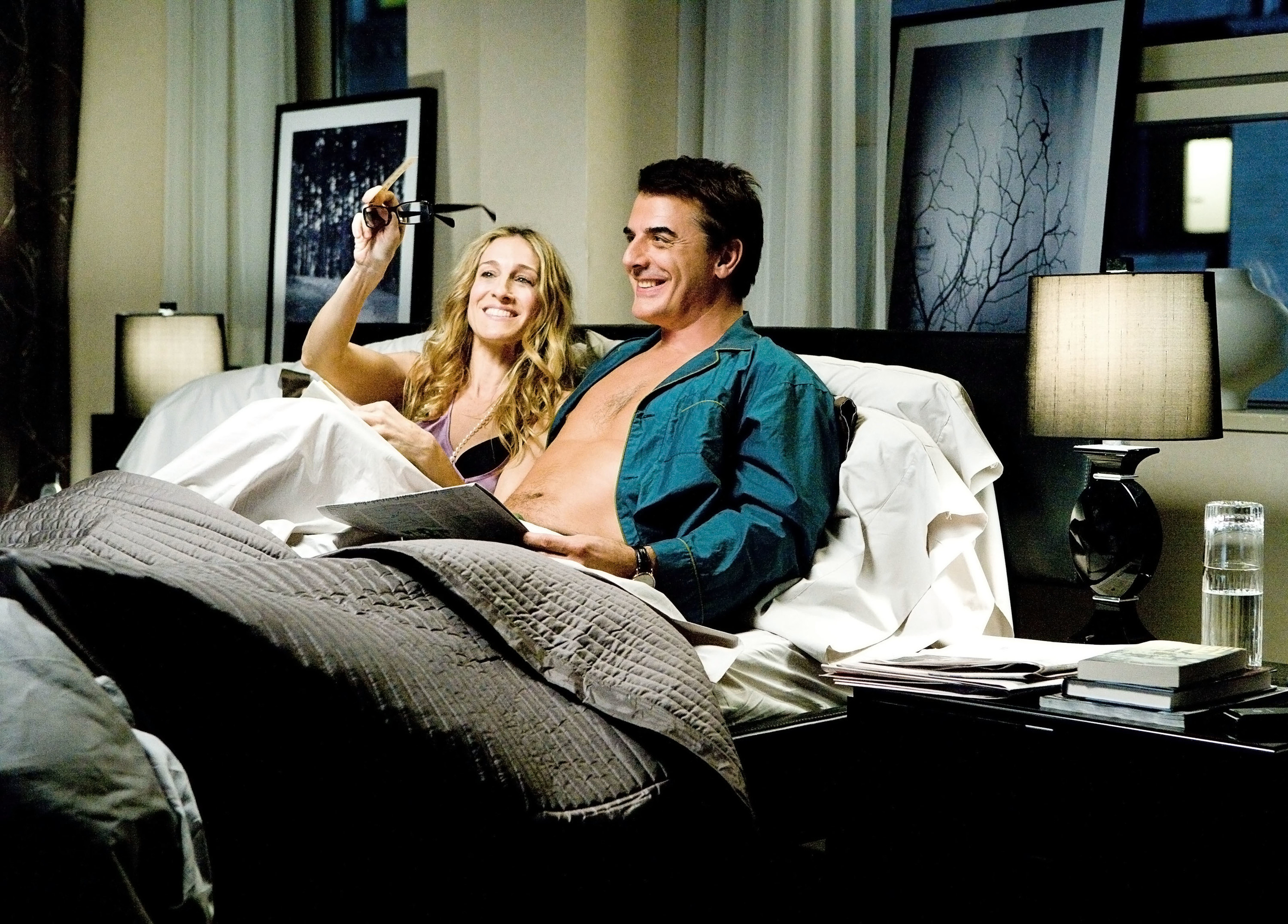 Parker and Noth in bed in Sex and the City: the Movie