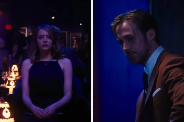 Mia sitting in a jazz club and Sebastian at the piano looking at her