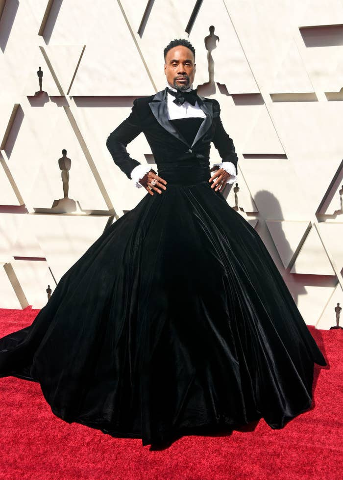 Billy wearing a ballgown with tuxedo top