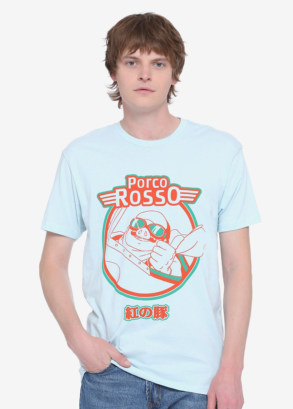 model wearing the light blue tee with the movie logo and Porco Rosso in his plane