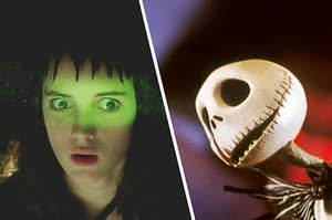 Lydia Deetz from Beetlejuice looking in fear at Jack Skellington from the nightmare before christmas