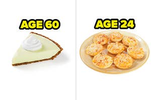 AGE 60 key lime pie and age 24 pizza bagels