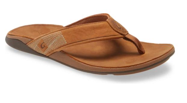 the waterproof leather flip flop in brown