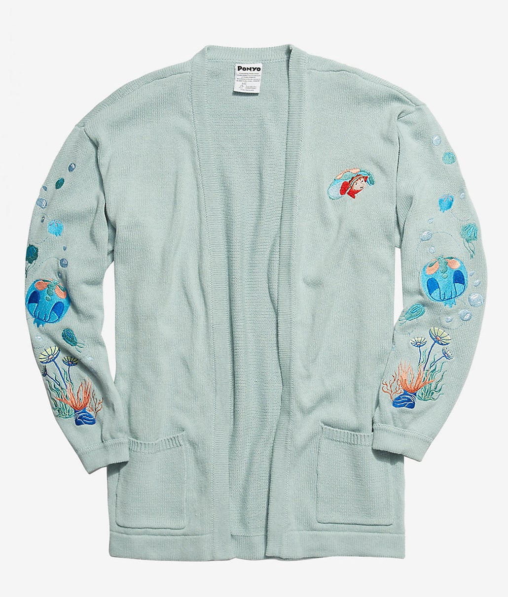 the mint open cardigan with pockets and a ponyo embroidery on the chest, plus fish, bubbles, and plant embroidery on the sleeves