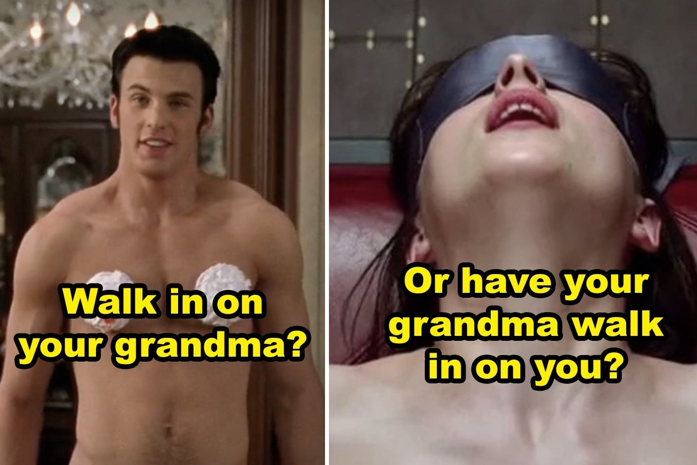 """Side-by-side of a shirtless Chris Evans in """"Not Another Teen Movie"""" and Dakota Johnson in """"50 Shades of Grey"""""""
