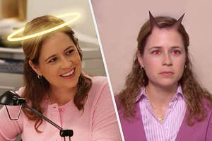 Pam as an angel and then Pam as a devil