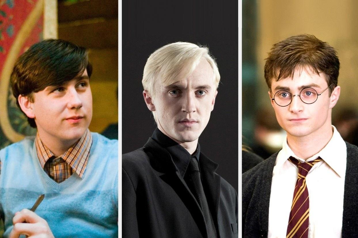 Neville Longbottom, Draco Malfoy, and Harry Potter