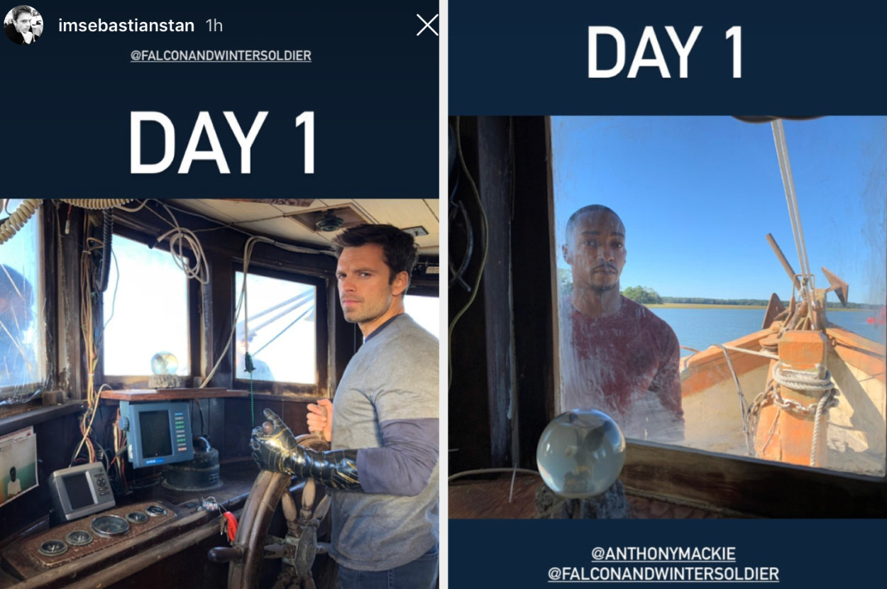 """""""day 1"""" with sebastian steering the boat and anthony on the boat"""
