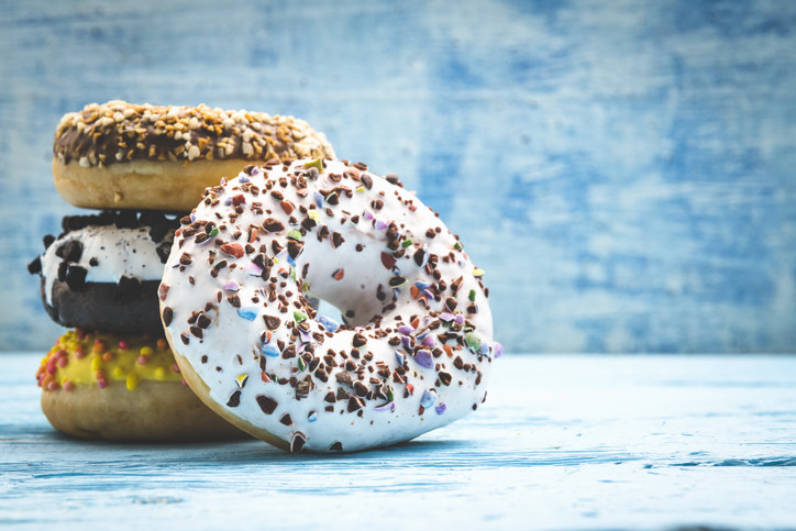 A stack of gourmet donuts