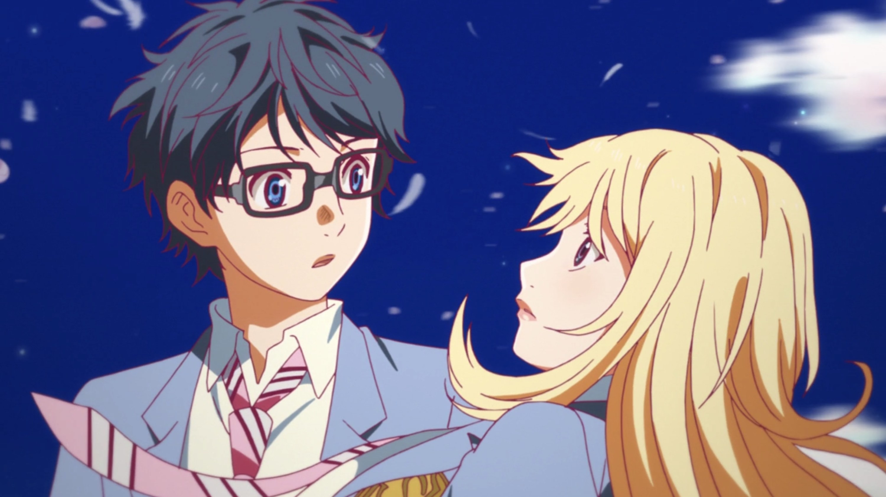 Kousei and Kaori looking into each other's eyes
