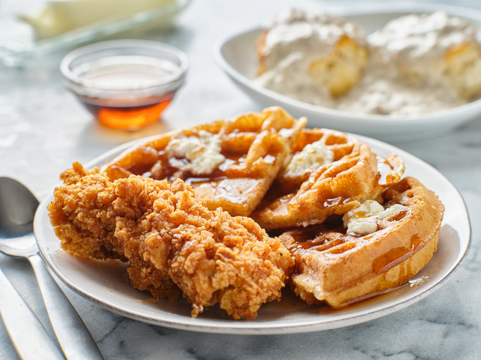 A plate of southern-style chicken and waffles