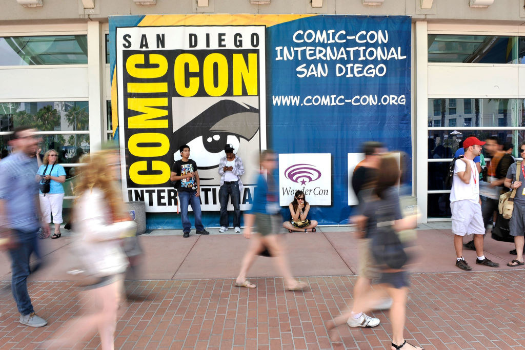 A large banner outside of the San Diego Comic-Con