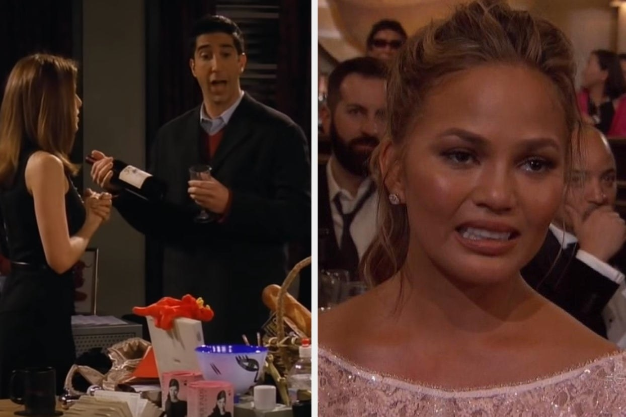 Ross and Rachel and Chrissy Teigen with awkward smile