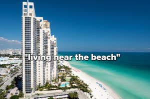 """A high-rise building on the Miami shoreline with the text """"living near the beach"""" over it"""