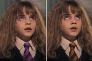 Hermione wearing a purple and pink tie another picture of her wearing a red and yellow tie