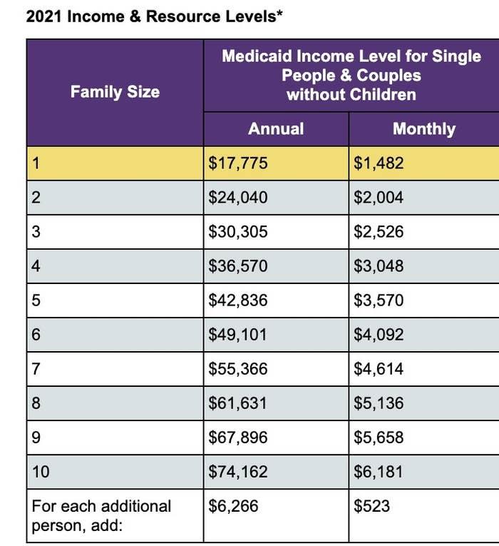 Screenshot of Medicaid levels for New York
