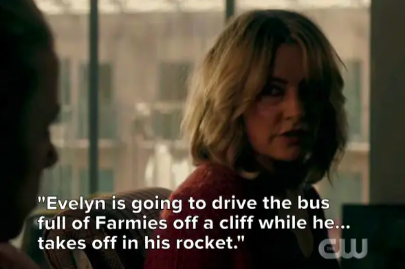"Alice: ""Evelyn is going to drive the bus full of Farmies off a cliff while Edgar takes off in his rocket"""