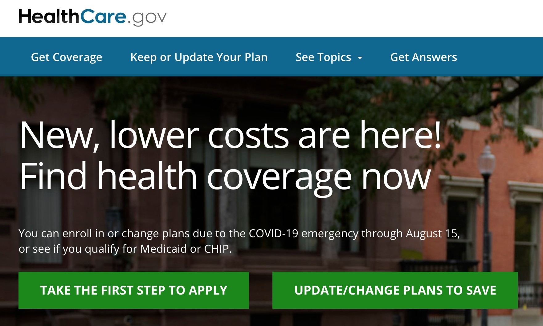 Screenshot of the healthcare marketplace