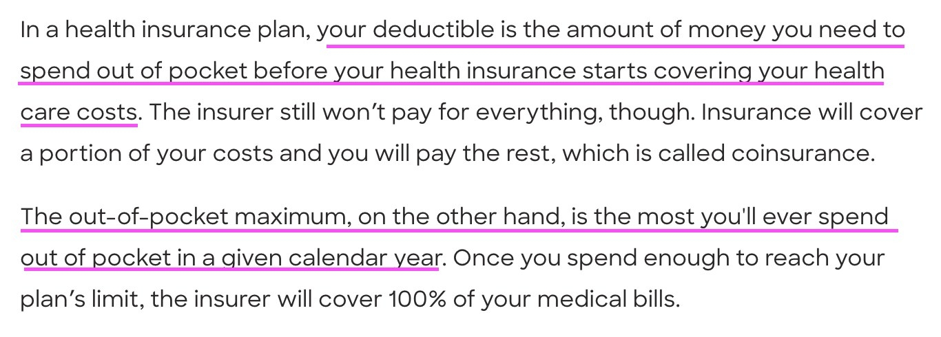 Screenshot of difference between a deductible and an out-of-pocket maximum