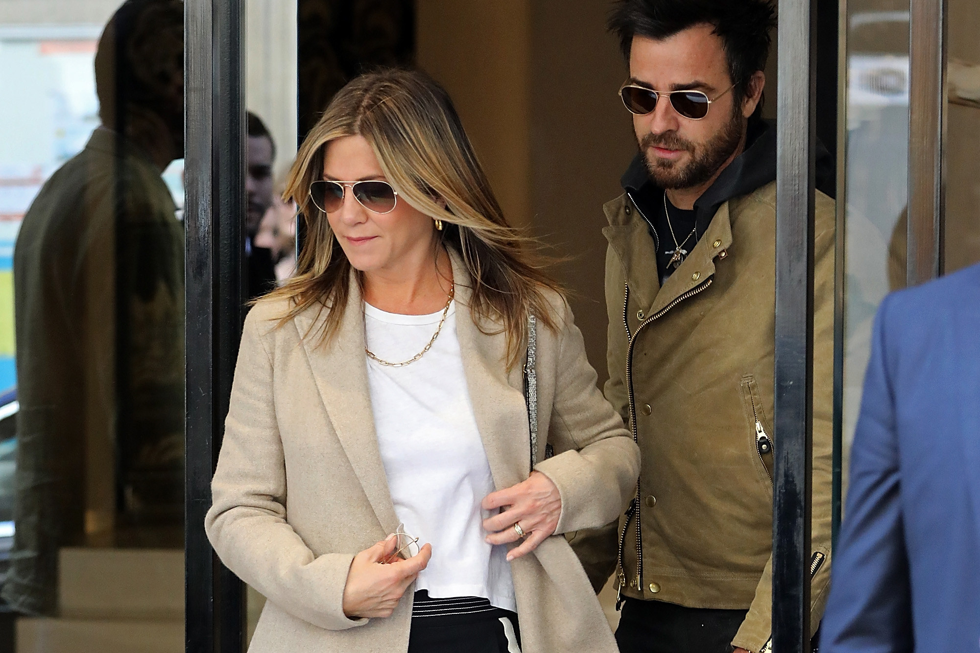 Aniston and Theroux leaving the Chanel store in Paris in April 2017