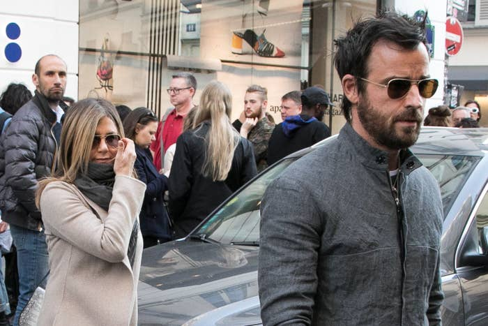Aniston and Theroux leaving the Colette store in Paris in 2017